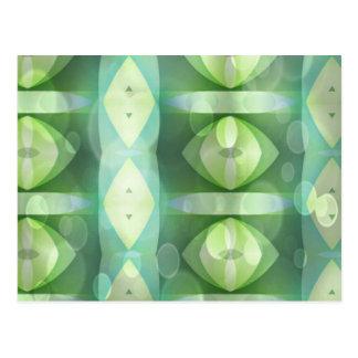Ovals Overlay Aqua Green Fractal Post Cards