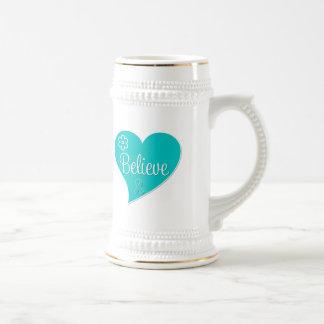 Ovarian Cancer Believe Heart Coffee Mug