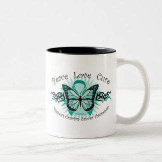 Ovarian Cancer Butterfly Tribal Mugs