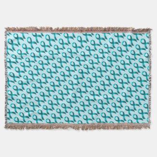 Ovarian Cancer | Cervical Cancer | Teal Ribbon Throw Blanket
