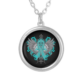 Ovarian Cancer Cool Wings Round Pendant Necklace
