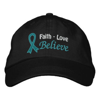 Ovarian Cancer Faith Love Believe Embroidered Baseball Caps