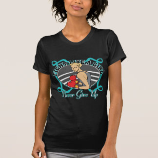 Ovarian Cancer Fight Like A Girl Boxer T-shirts