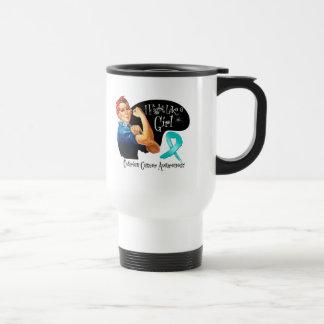 Ovarian Cancer Fight Like a Girl Rosie The Riveter Stainless Steel Travel Mug