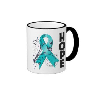 Ovarian Cancer Floral Hope Ribbon Ringer Mug