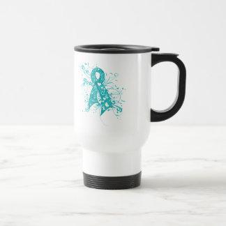 Ovarian Cancer Floral Swirls Ribbon Stainless Steel Travel Mug