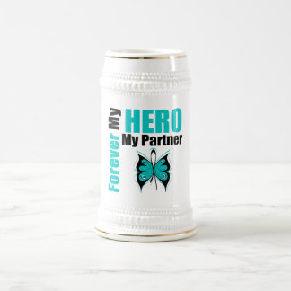 Ovarian Cancer Forever My Hero My Partner Beer Steins