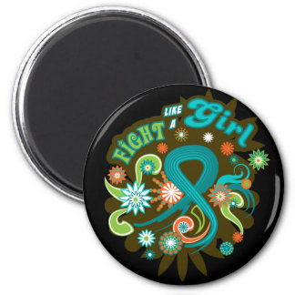 Ovarian Cancer Groovy Fight Like A Girl Refrigerator Magnet