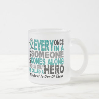 Ovarian Cancer Hero Comes Along AUNT Frosted Glass Mug