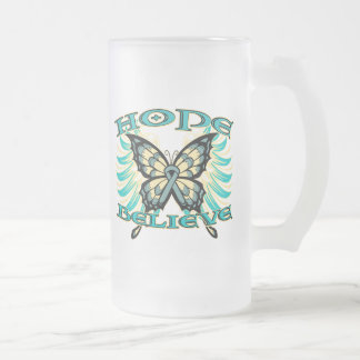 Ovarian Cancer Hope Believe Butterfly Frosted Glass Mug