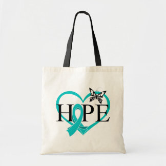 Ovarian Cancer Hope Butterfly Heart Budget Tote Bag