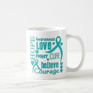 Ovarian Cancer Hope Words Collage Basic White Mug