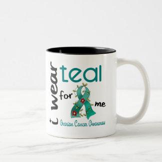 Ovarian Cancer I WEAR TEAL FOR ME 43 Two-Tone Coffee Mug