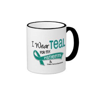 Ovarian Cancer I WEAR TEAL FOR MY PATIENTS 42 Ringer Mug