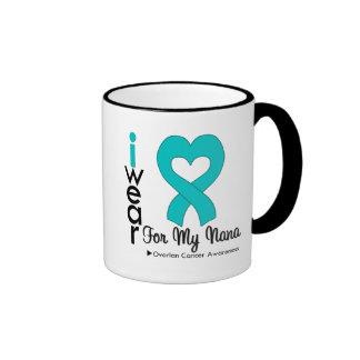 Ovarian Cancer I Wear Teal Heart For My Nana Ringer Mug