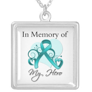Ovarian Cancer - In Memory of My Hero Square Pendant Necklace