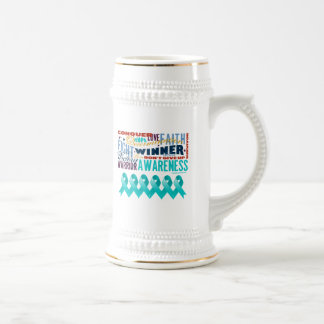 Ovarian Cancer Inspirational Words Beer Steins