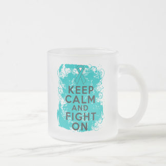 Ovarian Cancer Keep Calm and Fight On Frosted Glass Mug