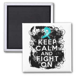 Ovarian Cancer Keep Calm and Fight On Square Magnet