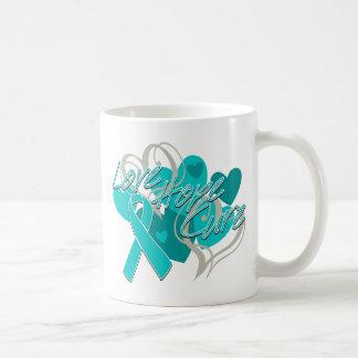 Ovarian Cancer Love Hope Cure Basic White Mug
