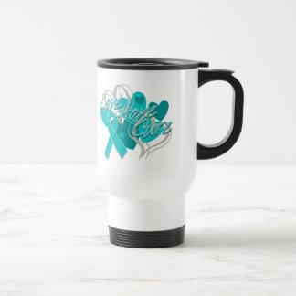 Ovarian Cancer Love Hope Cure Stainless Steel Travel Mug