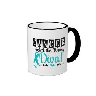 Ovarian Cancer Picked The Wrong Diva v2 Ringer Mug