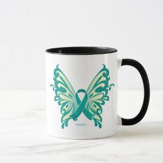 Ovarian Cancer Ribbon Butterfly Mug
