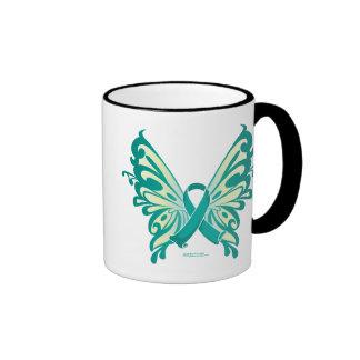 Ovarian Cancer Ribbon Butterfly Coffee Mug