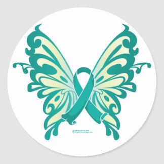 Ovarian Cancer Ribbon Butterfly Round Sticker