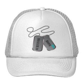 Ovarian Cancer Survivor Hope Dog Tags Hat