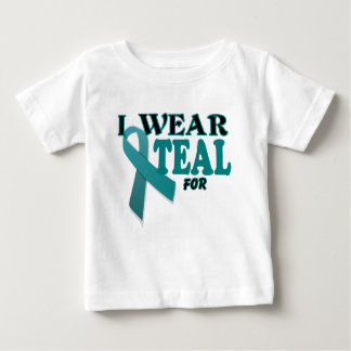 Ovarian Cancer Teal Awareness Ribbon Template Baby T-Shirt