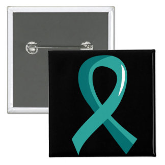 Ovarian Cancer Teal Ribbon 3 15 Cm Square Badge