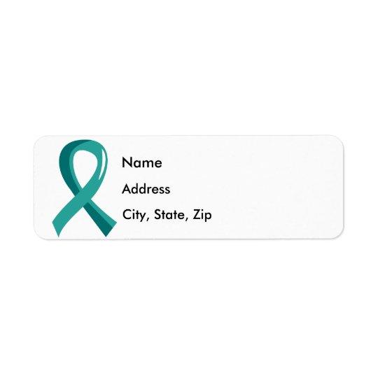Ovarian Cancer Teal Ribbon 3 Return Address Label