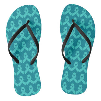 Ovarian Cancer Teal Ribbon Flip Flops Thongs