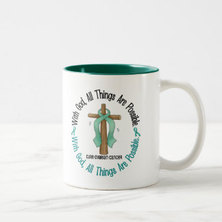 Ovarian Cancer WITH GOD CROSS 1 Two-Tone Mug