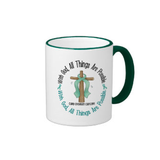 Ovarian Cancer WITH GOD CROSS 1 Ringer Mug