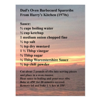 Oven Barbecued Spareribs Recipe Postcard
