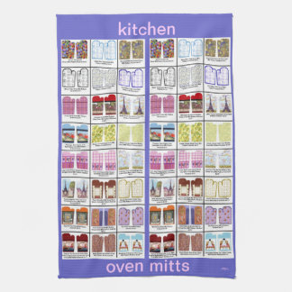 Oven mitt art patterns on kitchen towel by Kristie