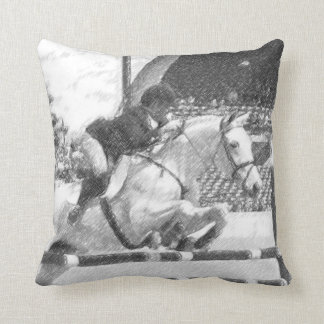 Over Easy - show jumping square pillow