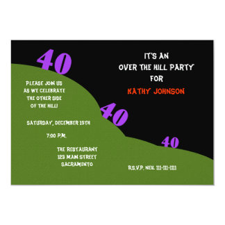 Over the Hill 40th Birthday Party Invites