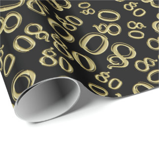 Over The Hill 80th Birthday Gold Black Collage Wrapping Paper
