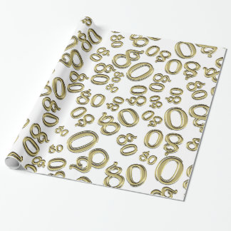 Over The Hill 80th Birthday Gold White Collage Wrapping Paper