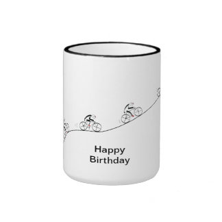 Over The Hill Bicyclist Birthday Ringer Coffee Mug