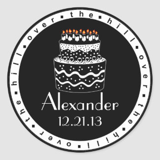 Over The Hill Birthday Cake Classic Round Sticker