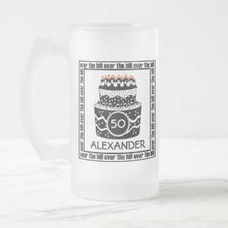 Over The Hill-Birthday Cake Frosted Glass Mug
