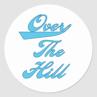 Over the Hill Blue Classic Round Sticker