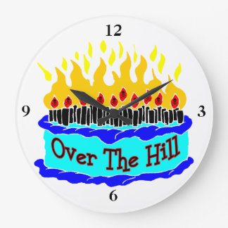 Over The Hill Flaming Birthday Cake Large Clock