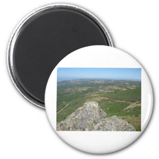 Over the mountains 2 6 cm round magnet