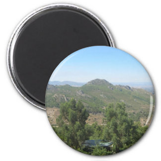 Over the mountains 3 6 cm round magnet