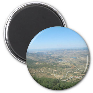 Over the mountains 6 6 cm round magnet